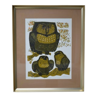 1970s Vintage David Weidman Owl Family Serigraph Print For Sale