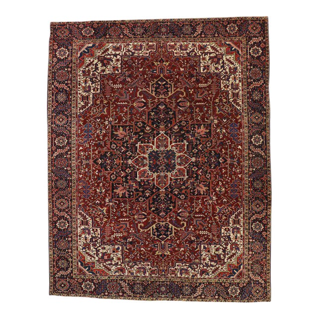 Antique Persian Heriz Rug with Modern Traditional Style For Sale