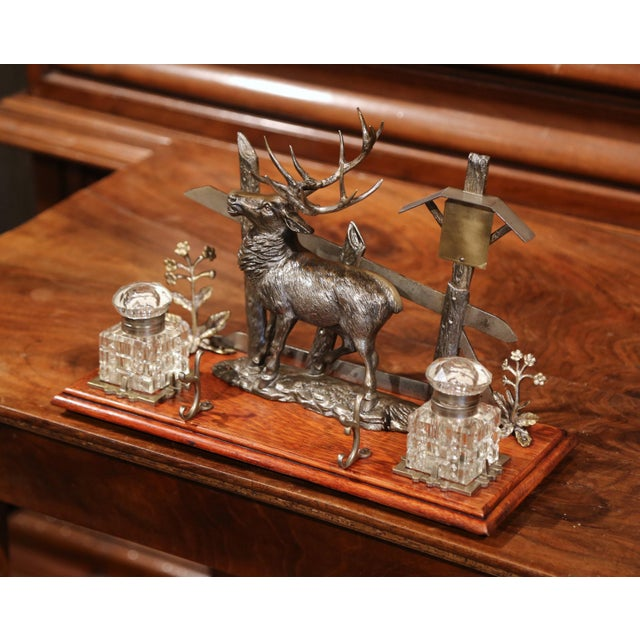 Adirondack Mid 20th Century French Spelter and Cut Glass Inkwell With Deer Sculpture For Sale - Image 3 of 10