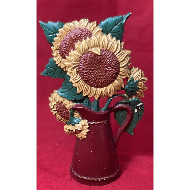 Vintage Mid Century Hand Painted Sunflowers Cast Iron Door Stop For Sale - Image 10 of 12
