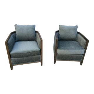 Green Velvet Tub Chairs- A Pair For Sale