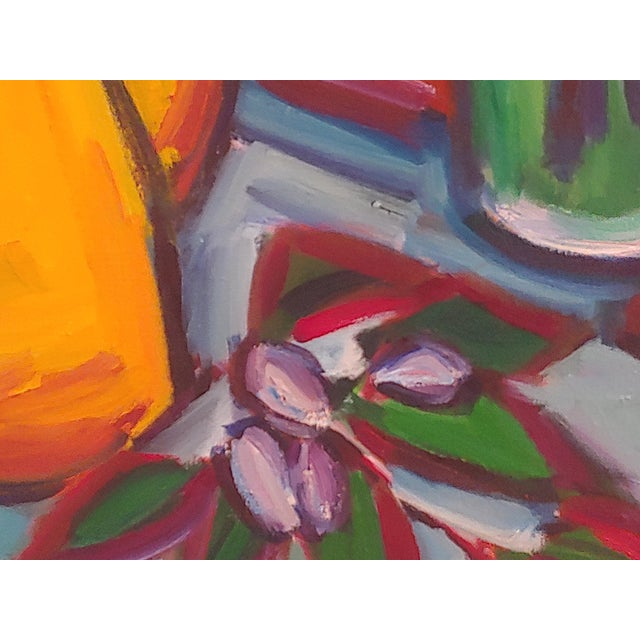 1990s Original Lilies 1 Abstract Still Life Large Painting by Richard Youniss For Sale - Image 5 of 11