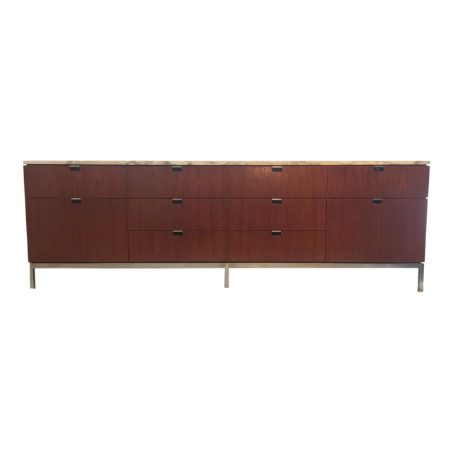1970s Mid-Century Modern Florence Knoll Brazilian Rosewood Credenza With a Carrara Marble Top For Sale