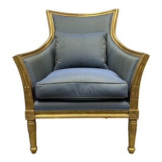 Empire Style Gold Leaf Arm Chair + Blue & Green Silk For Sale