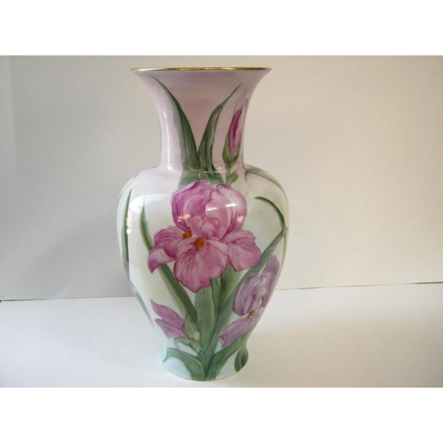 French Country Vintage Early 20th Century German Hand Painted Iris Vase For Sale - Image 3 of 6