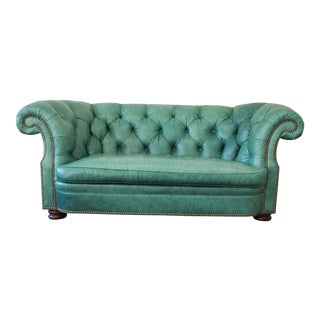 Vintage Teal Tufted Leather Chesterfield Sofa by Hancock & Moore