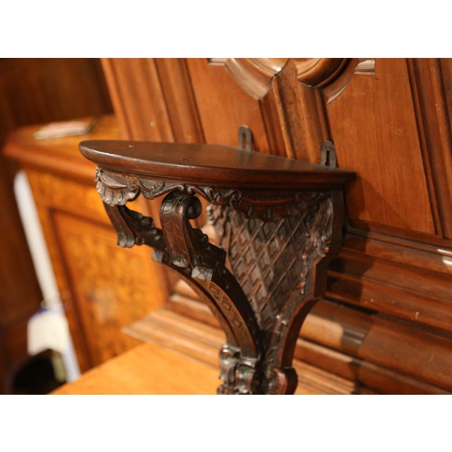 French 19th Century, French Louis XIV Carved Walnut and Oak Wall Bracket Console For Sale - Image 3 of 7