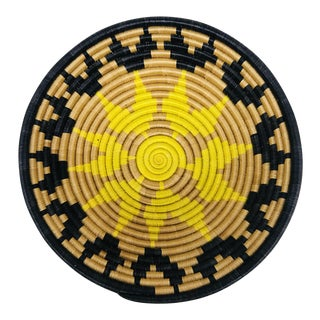 Yellow & Black African Artisan Woven Decorative Bowl For Sale