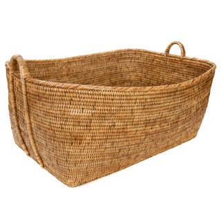 Artifacts Rattan Basket With Hoop Handles For Sale
