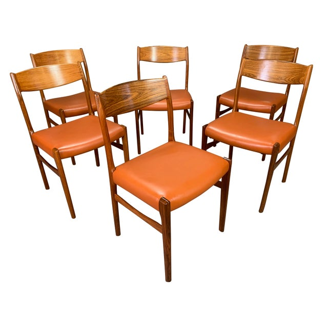 Set of Six Vintage Danish Mid Century Modern Rosewood and Leather Dining Chairs For Sale - Image 13 of 13