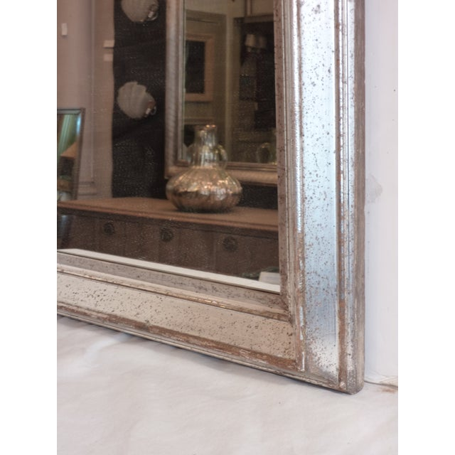 Traditional Antique Silver Leaf Wall Mirror For Sale - Image 3 of 6
