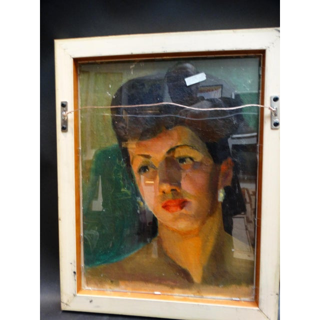Paint Vintage Mid-Century Albert Londraville Woman With a Flower in Her Hair Painting For Sale - Image 7 of 8