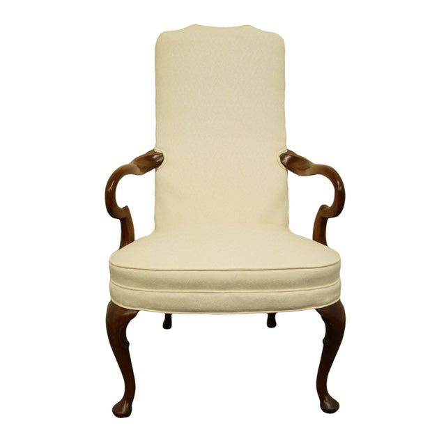 Late 20th Century Hickory Chair Solid Mahogany Queen Anne Style Upholstered Dining Arm Chair For Sale - Image 9 of 9