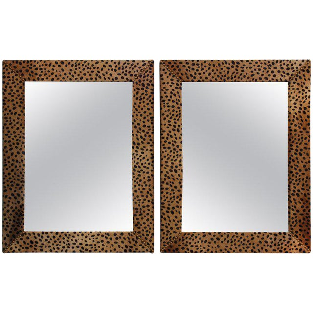 Custom Made Mid Century Modern Faux Leopard Leather Frame Mirrors A Pair