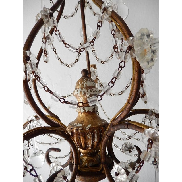 French Baroque Crystal Prisms Swags Old Chandelier For Sale - Image 9 of 11