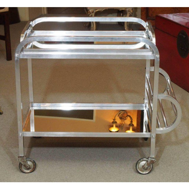 French Art Deco aluminum drinks trolley with removable tray- circa 1940- Style of Adnet