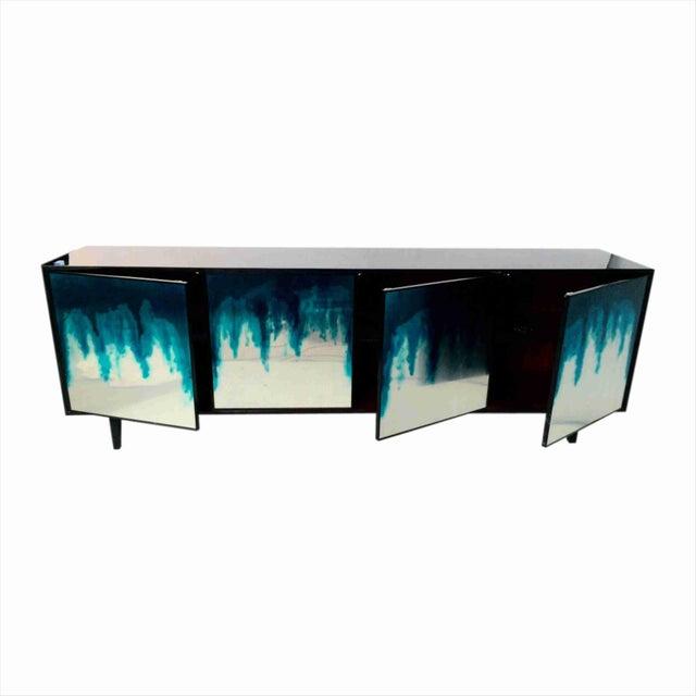 "Art Mirror 4-Door Credenza (Night Blue) W 96.5"" X D 20"" X H 33.5"" Material: Art Mirror, Resin Color: Night Blue, Jet Black..."