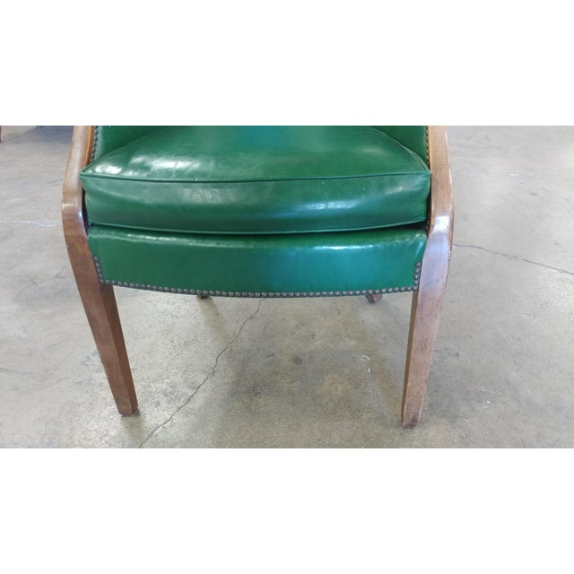 Green Vintage Baker Furniture Green Leather Library Chairs - A Pair For Sale - Image 8 of 10
