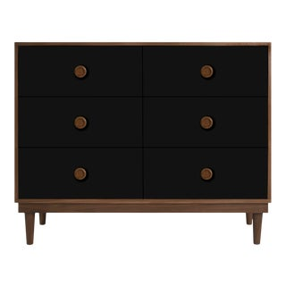 Lukka Modern Kids 6-Drawer Dresser in Walnut With Black Finish For Sale