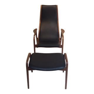 1960s Mid-Century Modern Yngve Ekström for Swedese Lamino Chair and Ottoman - a Pair For Sale