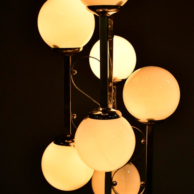 Mid-Century Italian Chrome Floor Lamp With White Glass Globes For Sale - Image 12 of 13