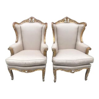 Vintage French Carved Giltwood Chairs- a Pair For Sale