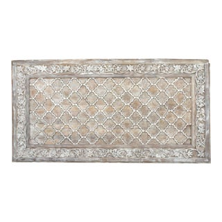 Antique Whitewashed Floral Carved Ceiling Panel For Sale