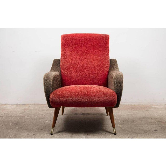 Italian Set of Italian 1950s Red and Grey Ladies Lounge Chairs in the Style of Zanuso For Sale - Image 3 of 4
