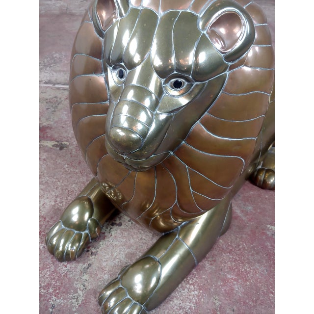 Gold Sergio Bustamante Resting Lion Brass & Copper Sculpture For Sale - Image 8 of 11