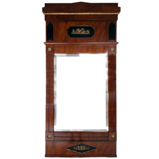 Early 19th Century German Neoclassical Biedermeier Mahogany and Gilt Mirror For Sale