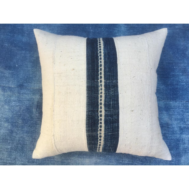 African Mud Cloth Pillow With Indigo - Image 2 of 6