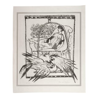 Woman & Parrots Offset Lithograph For Sale