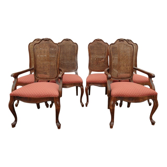 Set of Six French Country Oak Cane Dining Room Chairs by Century Furniture  Co