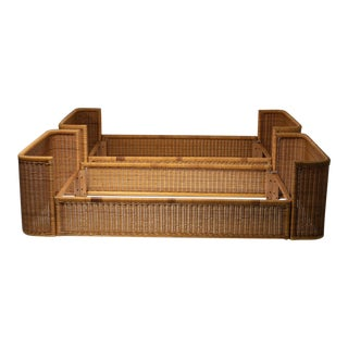 Pair of Single Bed Wicker Frame by Adalberto Dal Lago for Germa For Sale