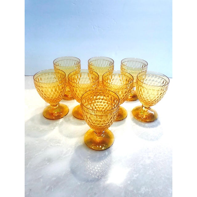 2000 - 2009 Vintage Crystal Amber Colored Wine Glasses by Villeroy & Boch, Set of Eight For Sale - Image 5 of 13