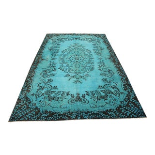 "Turquoise Turkish Overdyed Rug - 6'6"" X 10'2"" For Sale"
