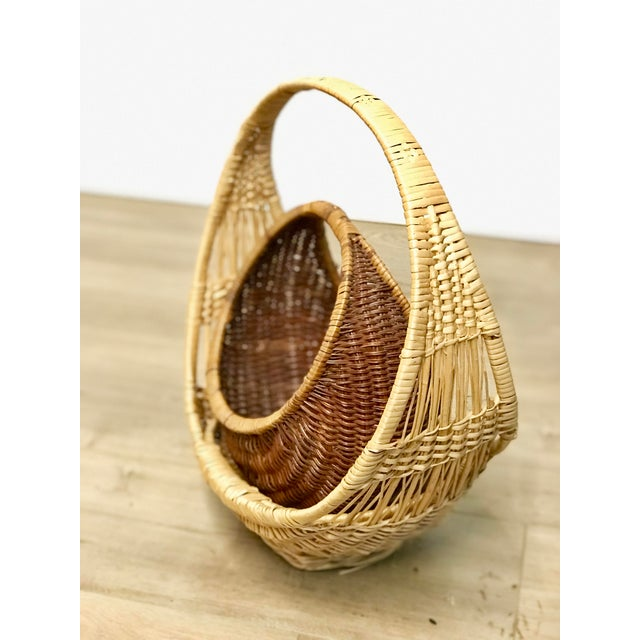 Nesting Gondola Woven Wicker Rattan Baskets - a Pair For Sale - Image 4 of 12