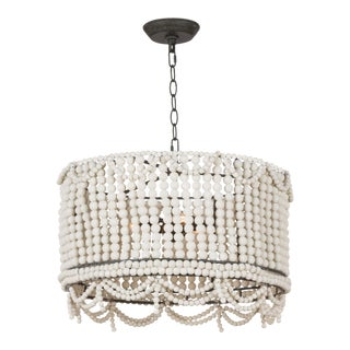 Malibu Drum Pendant in Weathered White For Sale