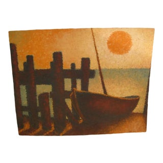 Impressionist Painting of Skiff on Beach For Sale