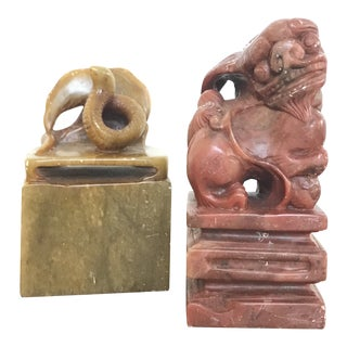 Antique Snake & Foo Dog or Dragon Chinese Carved Stone Seals - Set of 2 For Sale