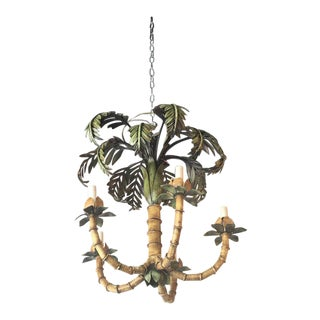 Vintage Palm Tree Frond Leaf Metal Tole Chandelier