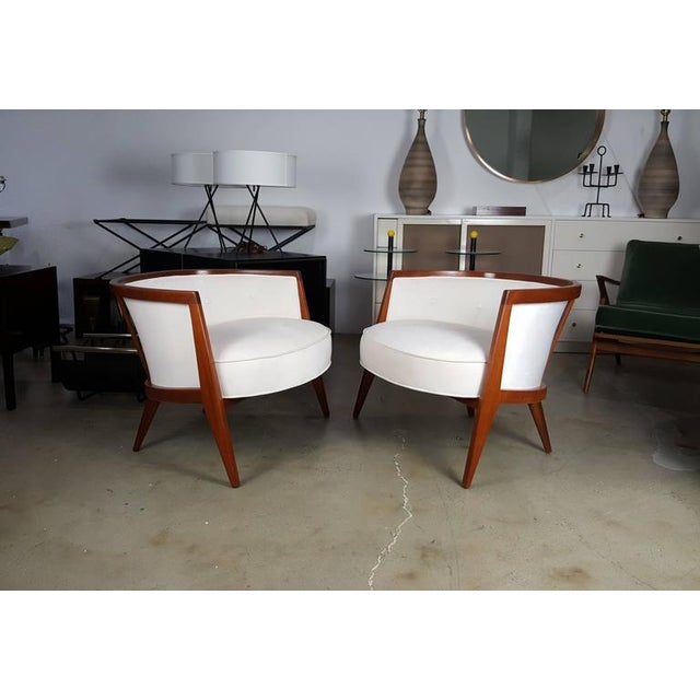 Sculptural Mahogany Lounge Chairs - A Pair - Image 2 of 6