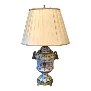 Porcelain Table Lamp & Silk Shade For Sale