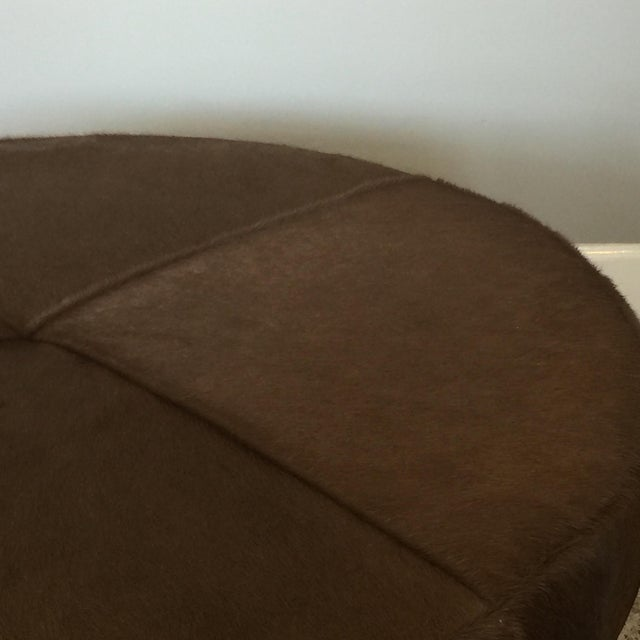 2010s Medium 'Tambour' Antiqued Brass and Hide Ottoman by Design Frères For Sale - Image 5 of 7