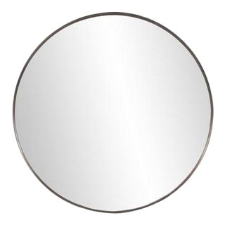 Kenneth Ludwig Chicago Steele Brass Round Mirror For Sale