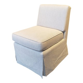 Slipper Chair in Baldwin Linen For Sale