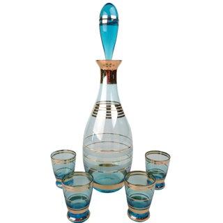 5-Piece 1950s Decanter & Shot Glasses Set For Sale