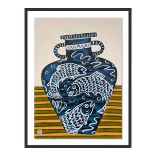 Salmon Vase by Jelly Chen in Black Framed Paper, Large Art Print For Sale