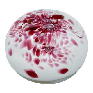 Vintage Italian Murano Pink and White Glass Paperweight For Sale