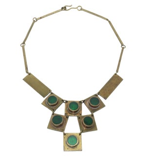 1960's Artisan Brass & Emerald Green Glass Modernist Bib Necklace For Sale